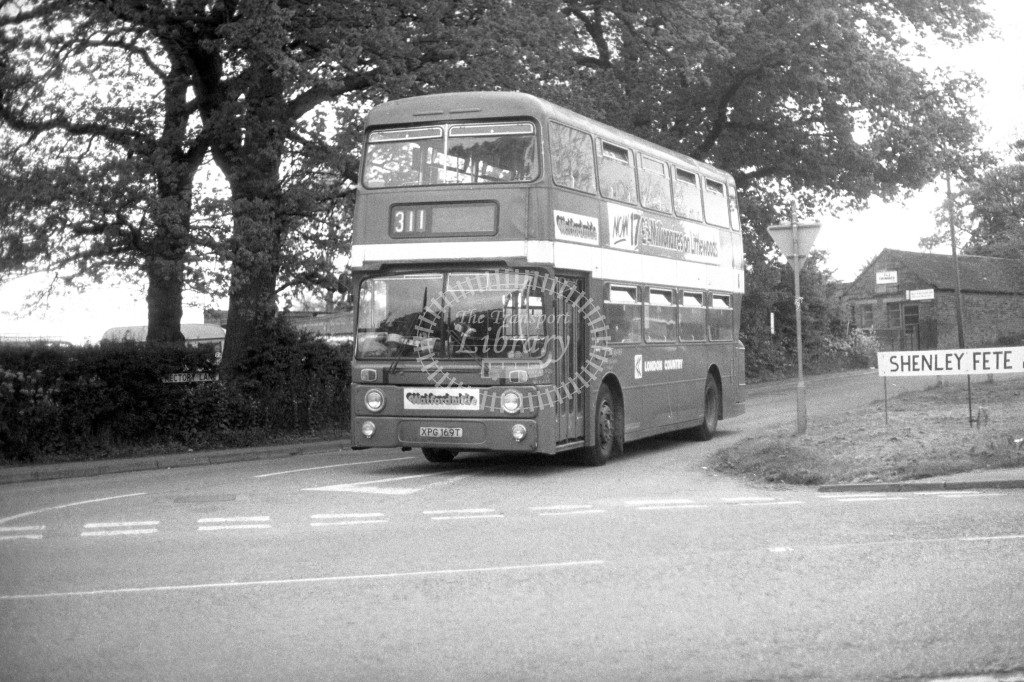 London Country Leyland Atlantean AN169 XPG169T  on route 311  at Shenley  in 1980s - JGS Smith