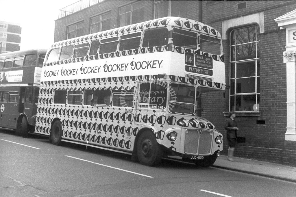 London Transport AEC Routemaster RML2412 JJD412D  on route 14  at Putney  in  - JGS Smith