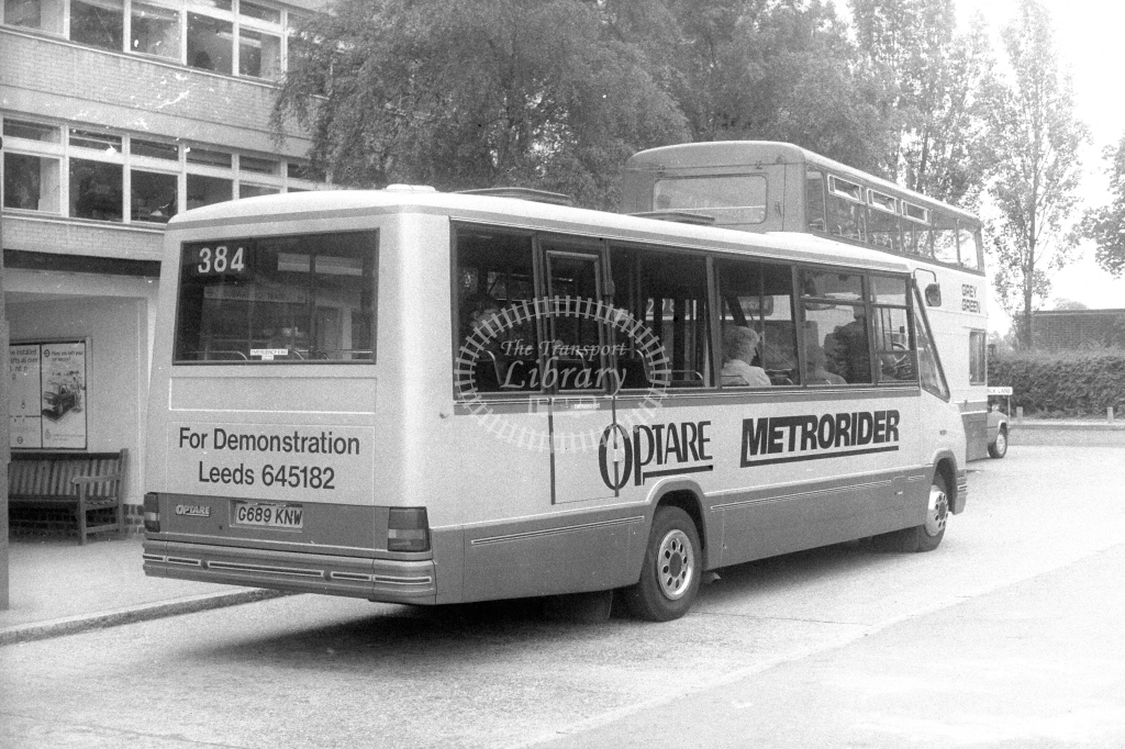 Welwyn Hatfield Line Optare Metrorider G689KNW  on route 384  in 1990s - JGS Smith