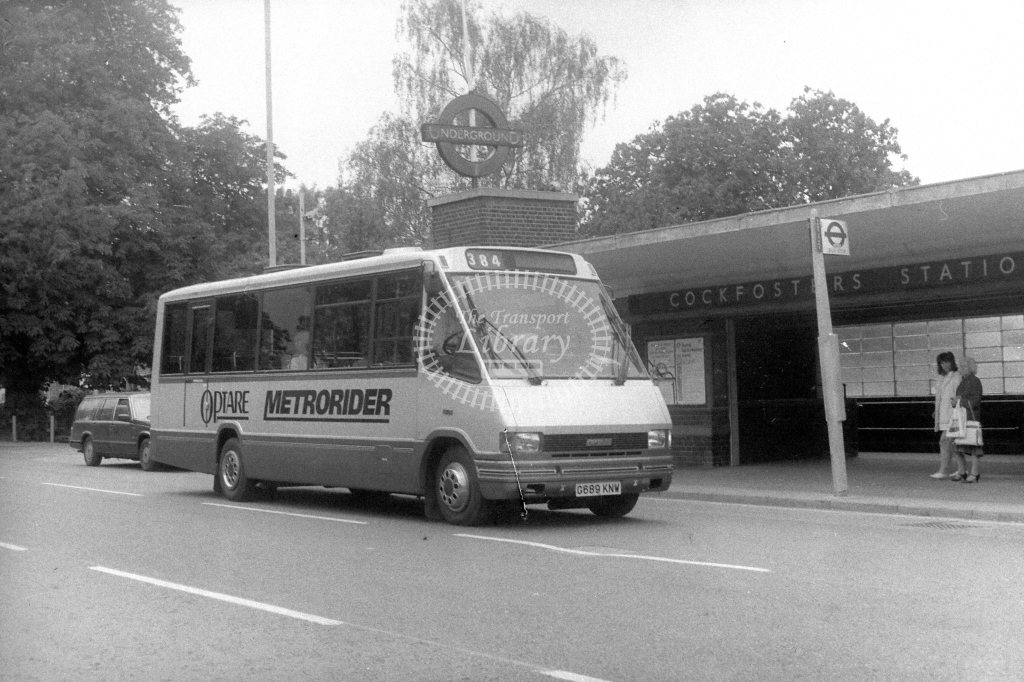 Welwyn Hatfield Line Optare Metrorider G689KNW  on route 384  at Cockfosters  in 1990s - JGS Smith
