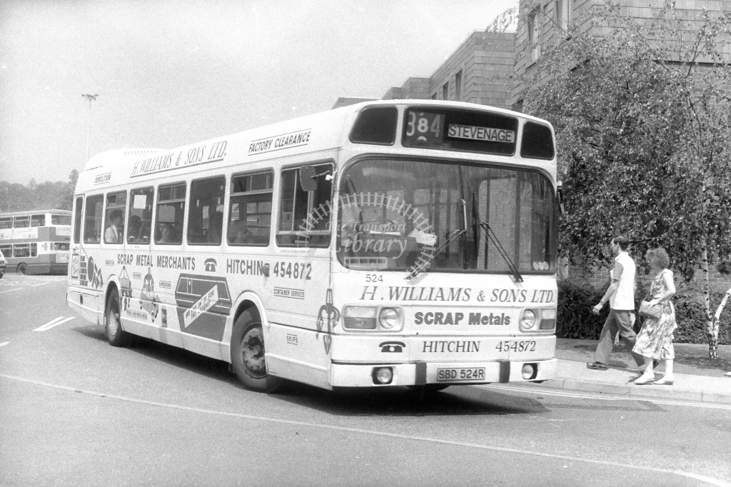 Luton & District Leyland National 524 SBD524R  on route 384  in 1990s - JGS Smith