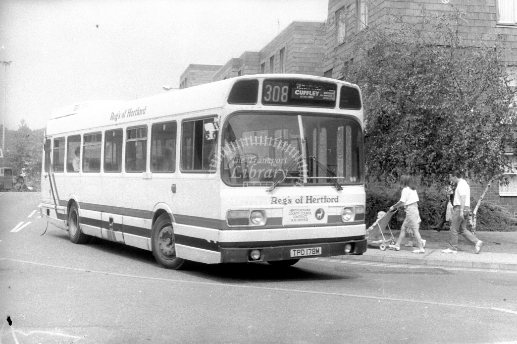 Reg's of Hertford Leyland National TPD178M  on route 308  in 1990s - JGS Smith