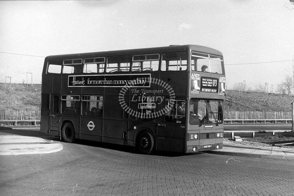London Transport Leyland Titan T T580 NUW580Y  on route 173  at East Beckton  in 1980s - JGS Smith