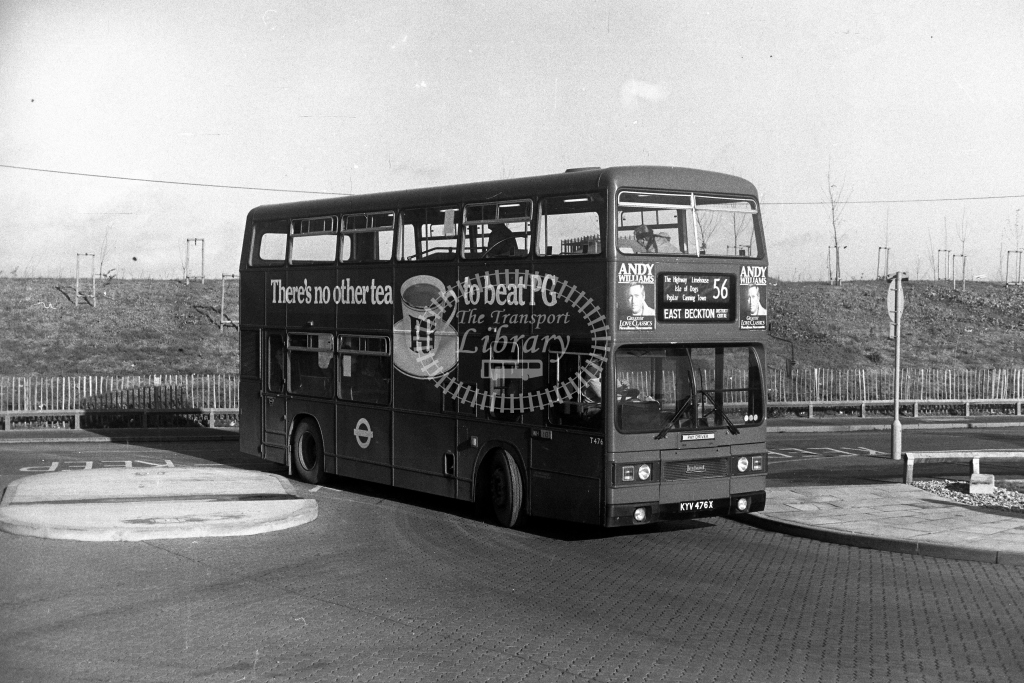 London Transport Leyland Titan T T476 KYV476X  on route 56  at East Beckton  in 1980s - JGS Smith