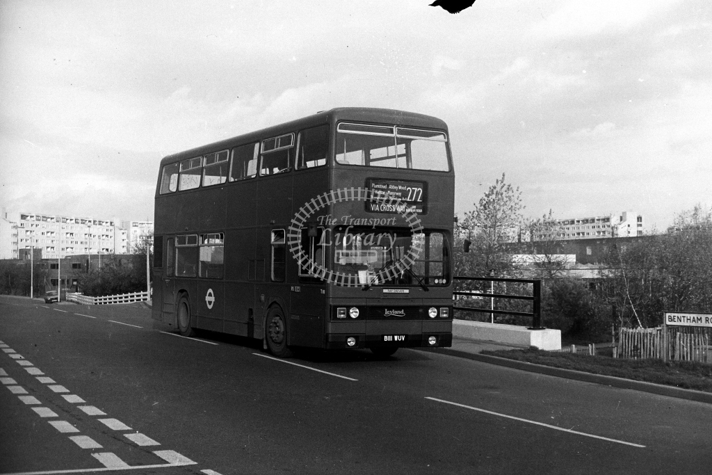 London Transport Leyland Titan T T1111 B111WUV  on route 272  at Thamesmead  in 1980s - JGS Smith