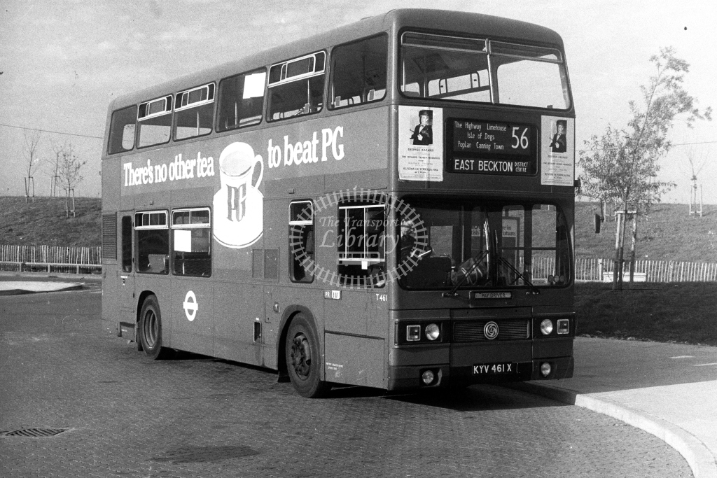 London Transport Leyland Titan T T461 KYV461X  on route 56  at East Beckton  in 1980s - JGS Smith