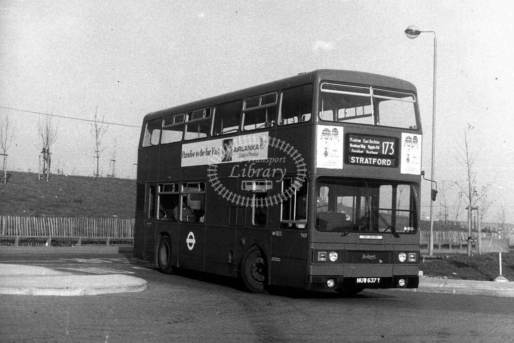 London Transport Leyland Titan T T637 NUW637Y  on route 173  at East Beckton  in 1980s - JGS Smith