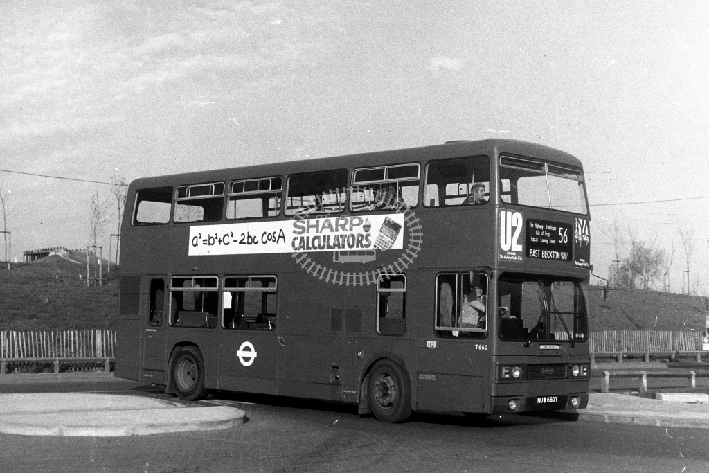 London Transport Leyland Titan T T660 NUW660Y  on route 56  at East Beckton  in 1980s - JGS Smith