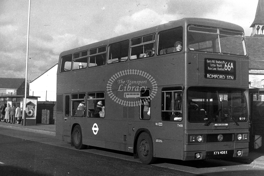 London Transport Leyland Titan T T408 KYV408X  on route 66A  at Romford  in 1980s - JGS Smith