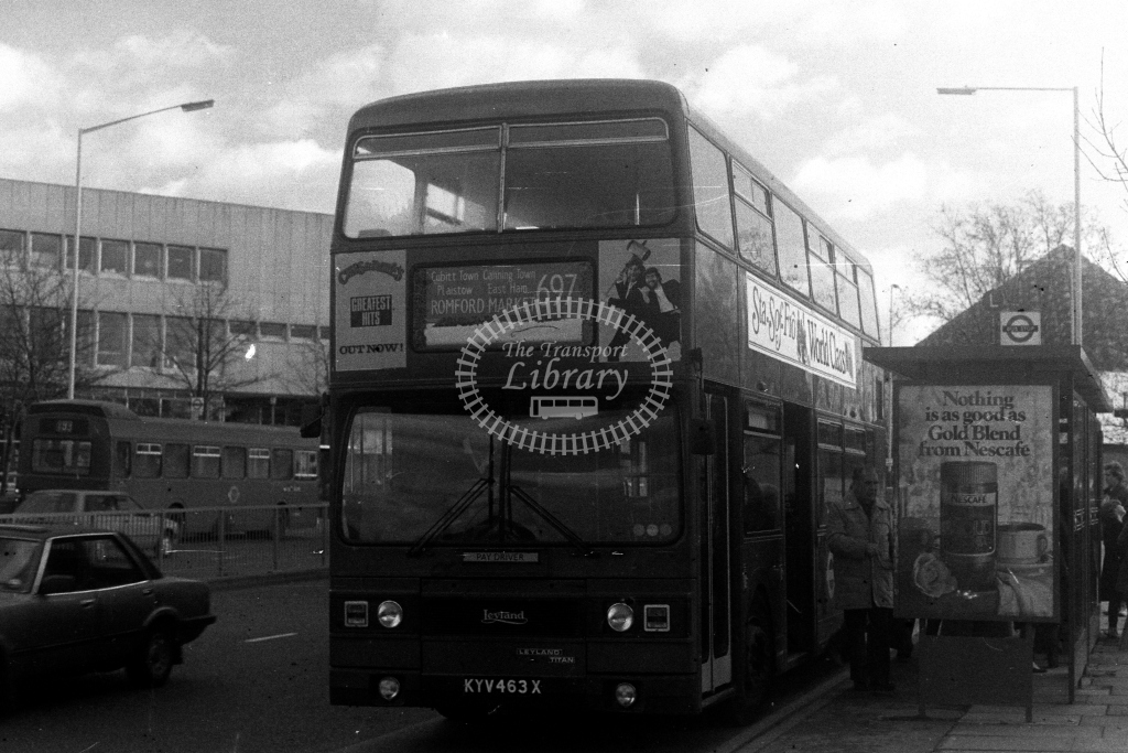 London Transport Leyland Titan T T463 KYV463X  on route 697  at Romford  in 1980s - JGS Smith
