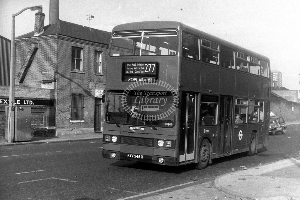 London Transport Leyland Titan T T545 KYV545X  on route 277  at Limehouse  in 1980s - JGS Smith