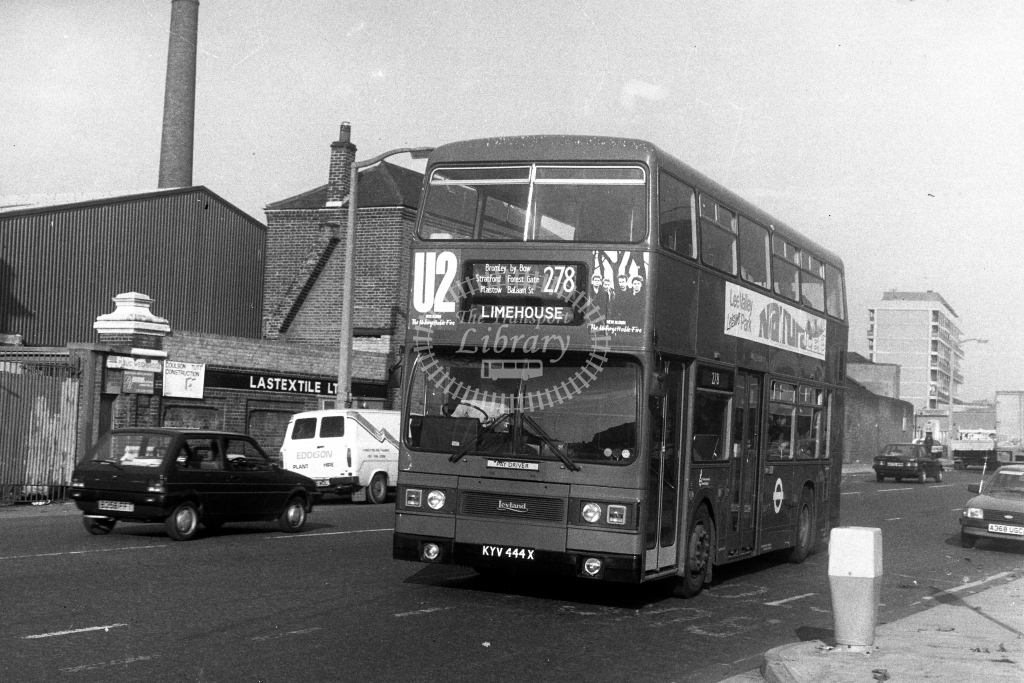 London Transport Leyland Titan T T444 KYV444X  on route 278  at Limehouse  in 1980s - JGS Smith