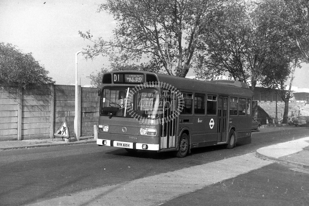 London Transport Leyland National LS LS405 BYW405V  on route D1  in 1980s - JGS Smith