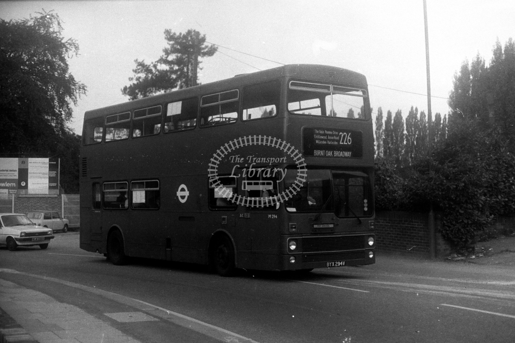 London Transport MCW Metrobus M M294 BYX294V  on route 226  in 1980s - JGS Smith