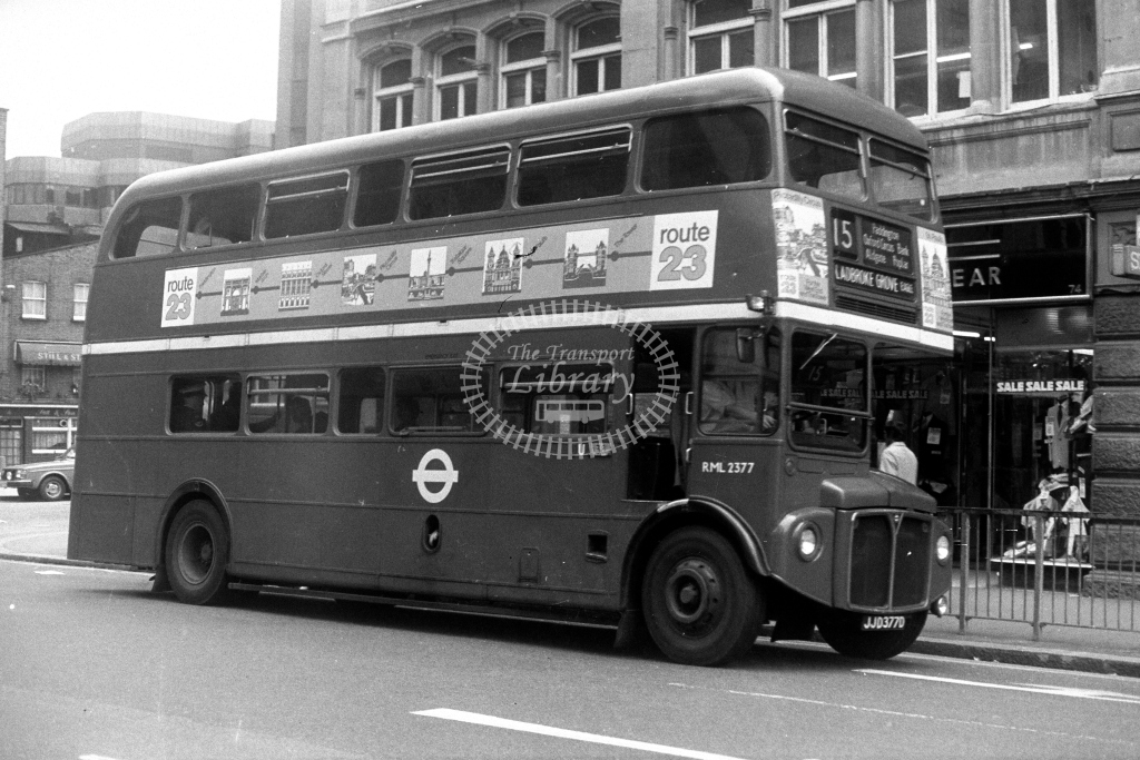 London Transport AEC Routemaster RML RML2377 JJD377D  on route 15  in 1980s - JGS Smith