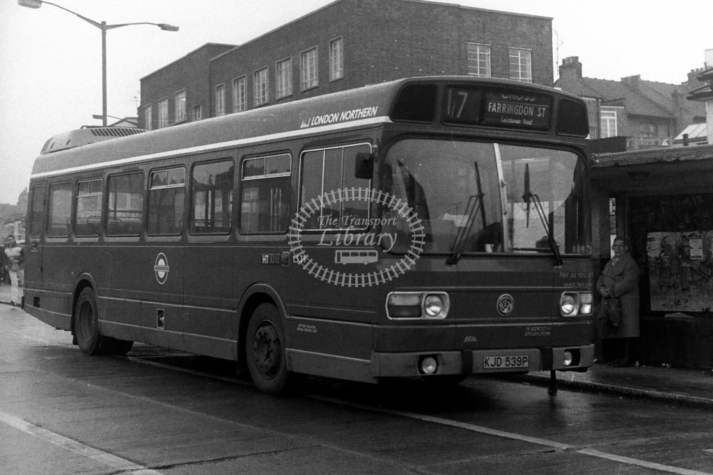 London Transport London Northern Leyland National LS LS39 KJD539P  on route 17  in 1980s - JGS Smith