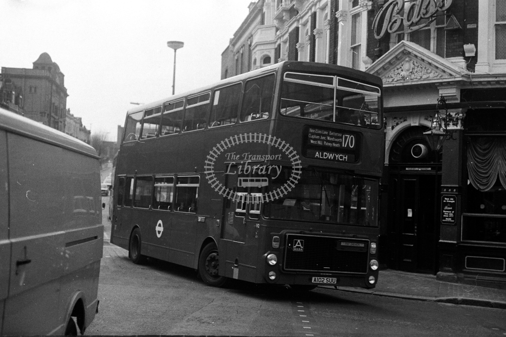 London Transport Ailsa B55 V V2 A102SUU  on route 170  at Clapham Junction  in 1980s - JGS Smith