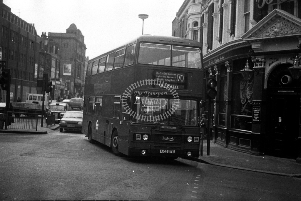 London Transport Leyland Olympian L L2 A102SYE  on route 170  at Clapham Junction  in 1980s - JGS Smith