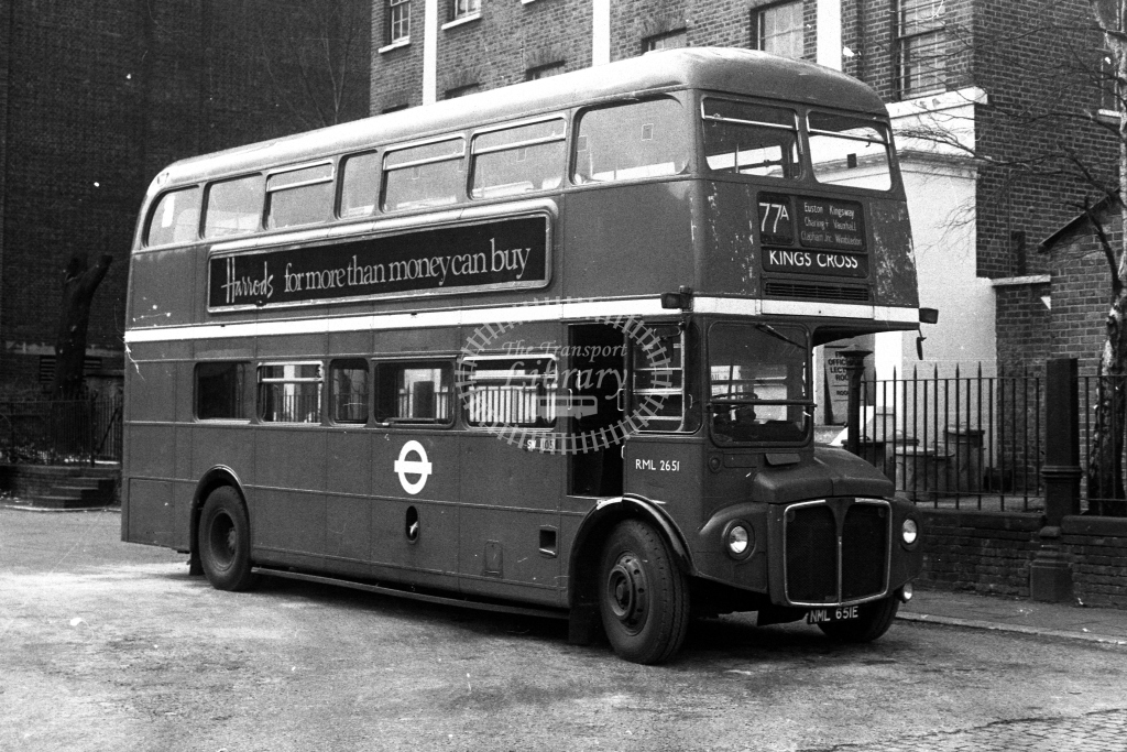 London Transport AEC Routemaster RML RML2651 NML651E  on route 77A  at Clapham Junction  in 1980s - JGS Smith