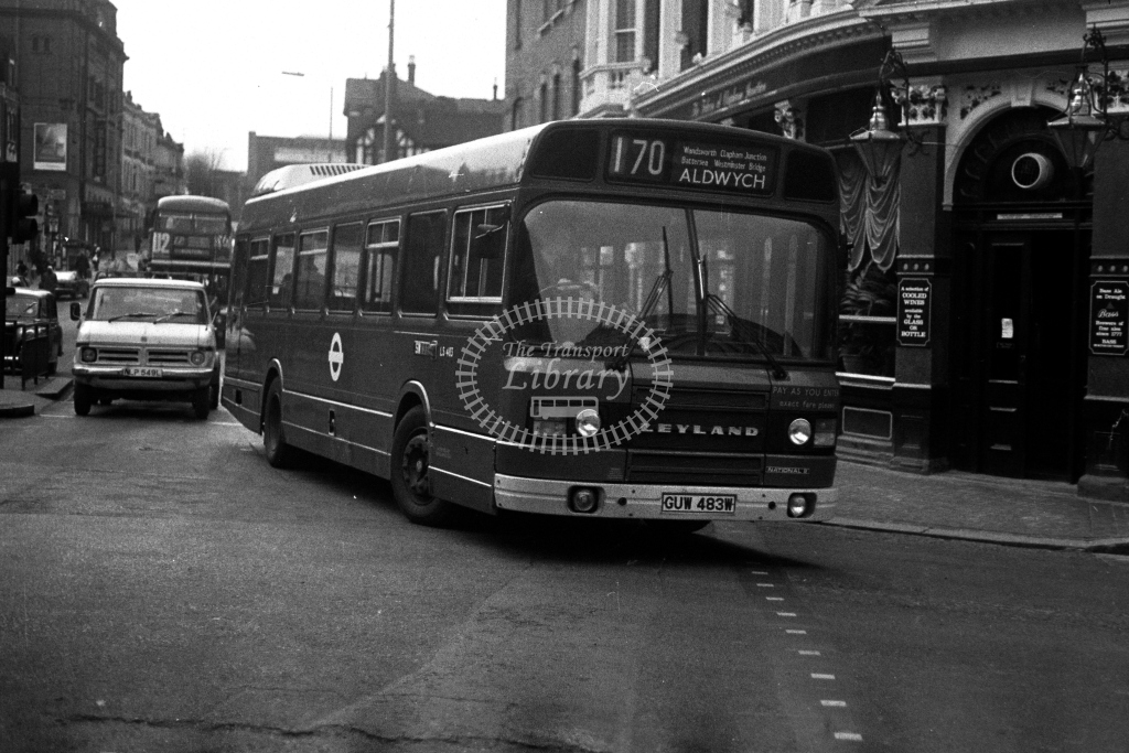 London Transport Leyland National LS LS483 GUW483W  on route 170  at Clapham Junction  in 1980s - JGS Smith