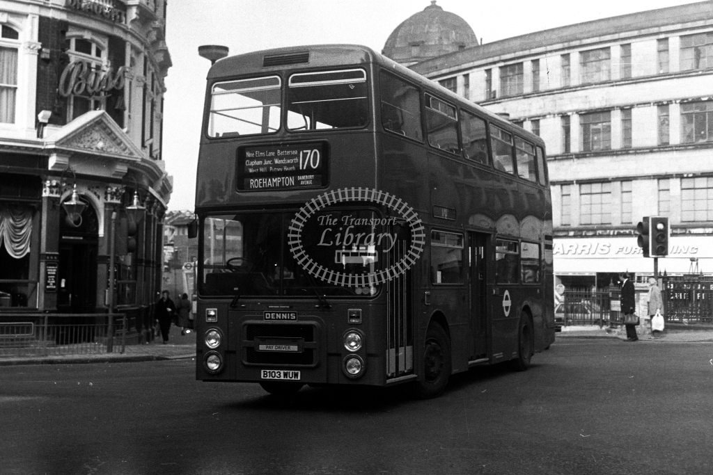 London Transport Dennis Dominator H H3 B103WUW  on route 170  at Clapham Junction  in 1980s - JGS Smith