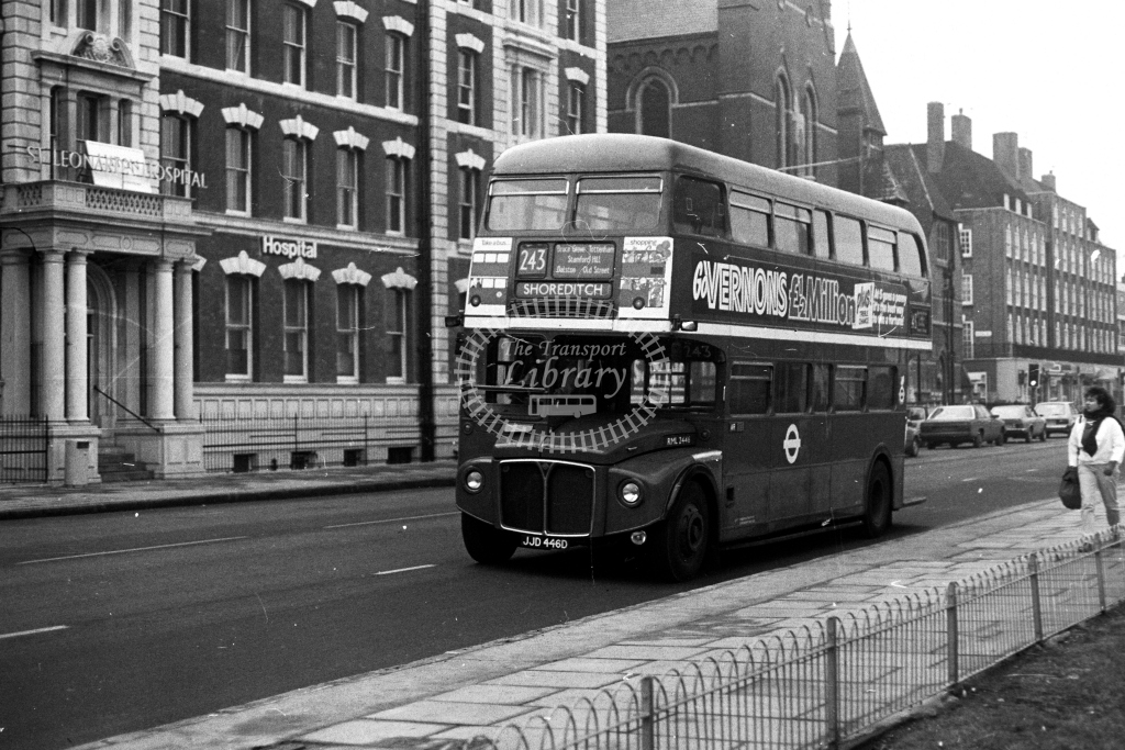 London Transport AEC Routemaster RML RML2446 JJD446D  on route 243  at Haggerston  in 1980s - JGS Smith