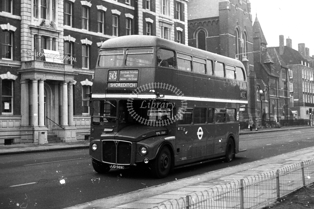 London Transport AEC Routemaster RML RML2569 JJD569D  on route 243  at Haggerston  in 1980s - JGS Smith
