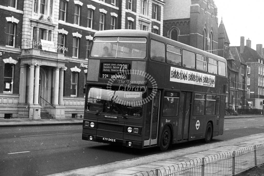 London Transport Leyland Titan TPL T543 KYV543X  on route 22A  at Haggerston  in 1980s - JGS Smith