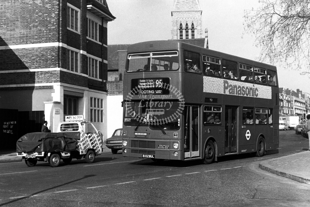 London Transport MCW Metrobus M M1102 B102WUL  on route 95  in 1980s - JGS Smith