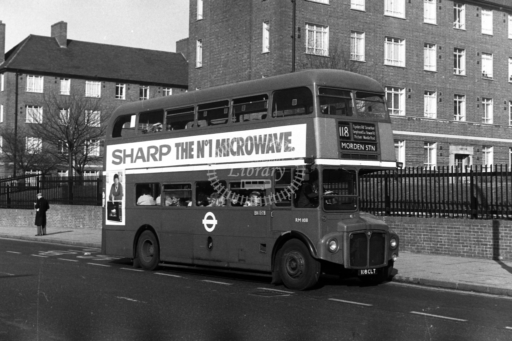 London Transport AEC Routemaster RM RM1108 108CLT  on route 118  in 1980s - JGS Smith