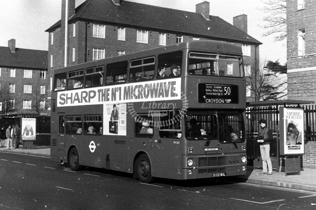 London Transport MCW Metrobus M M1103 B103WUL  on route 50  in 1980s - JGS Smith