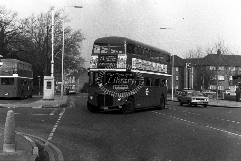 London Transport AEC Routemaster RML RML2523 JJD523D  on route 23  at East Ham  in 1980s - JGS Smith