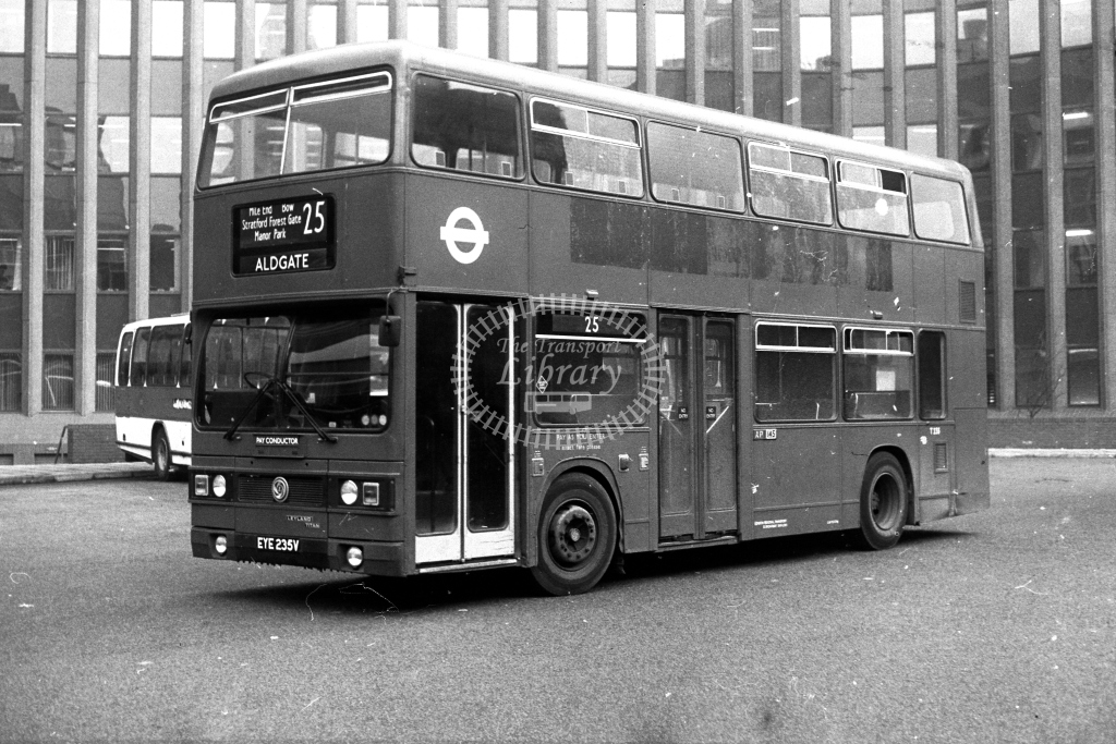 London Transport Leyland Titan T T235 EYE235V  on route 25  at Aldgate  in 1980s - JGS Smith