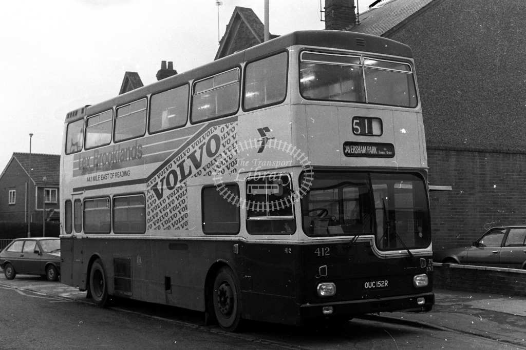 Reading Scania BR111 OUC152R  at Reading  in 1980s - JGS Smith