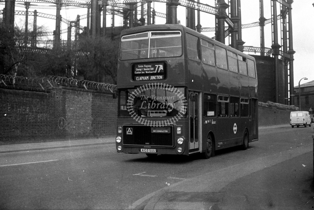 London Transport Ailsa B55 V V3 A103SUU  on route 77A  in 1980s - JGS Smith