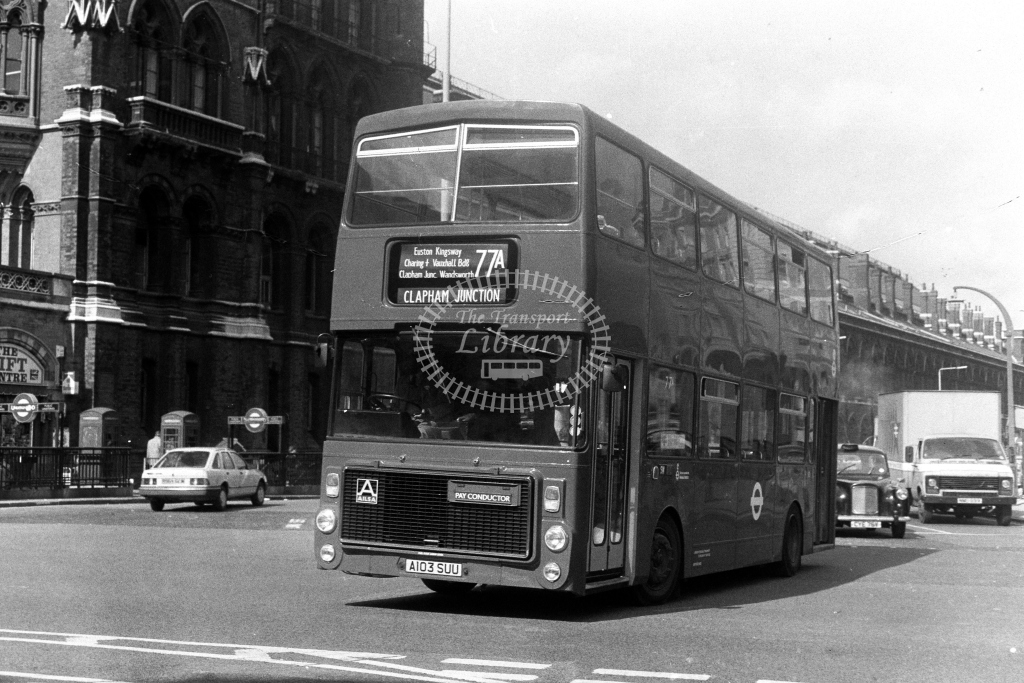 London Transport Ailsa B55 V V3 A103SUU  on route 77A  at Kings Cross  in 1980s - JGS Smith