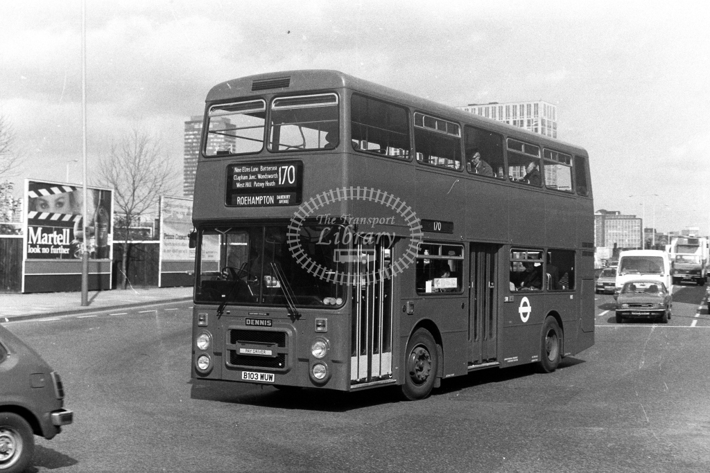 London Transport Dennis Dominator H H3 B103WUW  on route 170  in 1980s - JGS Smith