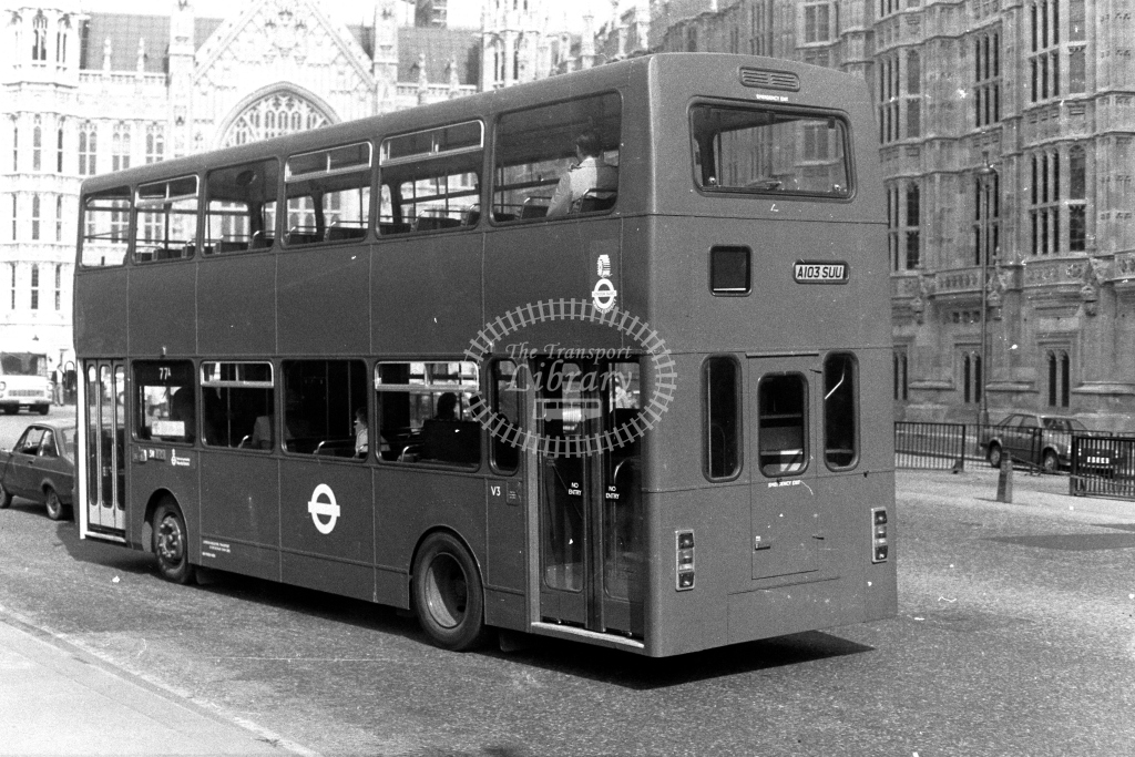 London Transport Ailsa B55 V V3 A103SUU  on route 77A  at Westminster  in 1980s - JGS Smith