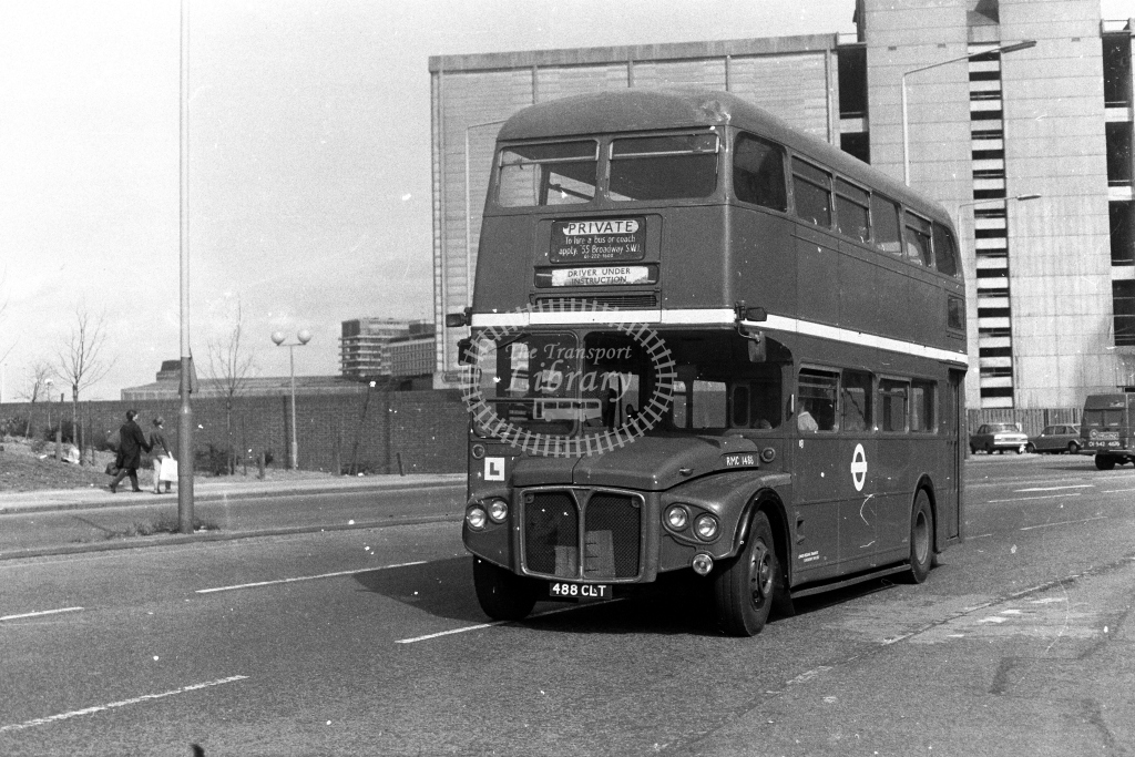 London Transport AEC Routemaster RMC RMC1488 488CLT  at Vauxhall  in 1980s - JGS Smith