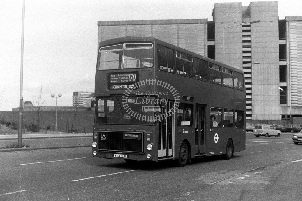 London Transport Ailsa B55 V V1 A101SUU  on route 170  at Vauxhall  in 1980s - JGS Smith