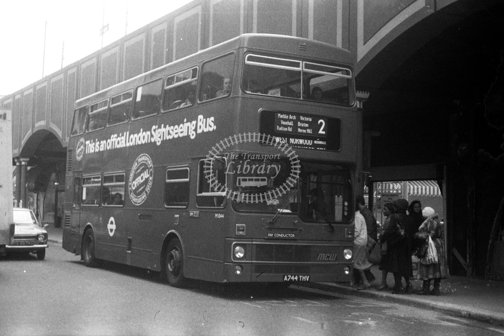 London Transport MCW Metrobus M M1044 A744THV  on route 2  in 1980s - JGS Smith