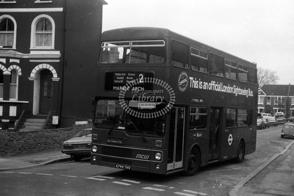 London Transport MCW Metrobus M M1044 A744THV  on route 2  at West Norwood  in 1980s - JGS Smith