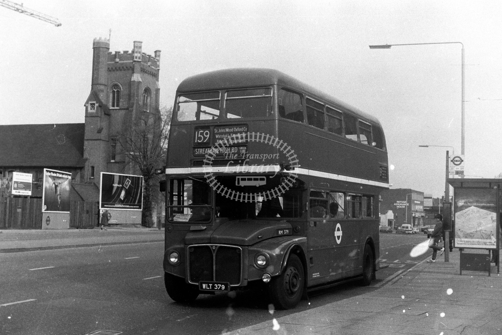 London Transport AEC Routemaster RM RM379 WLT379  on route 159  at Streatham  in 1980s - JGS Smith