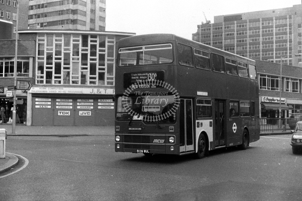 London Transport MCW Metrobus M M1139 B139WUL  on route 130B  at Croydon  in 1980s - JGS Smith