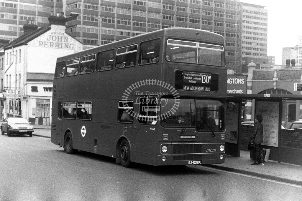 London Transport MCW Metrobus M M1242 B242WUL  on route 130B  at Croydon  in 1980s - JGS Smith