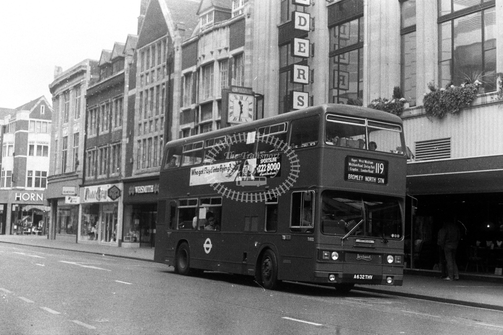 London Transport Leyland Titan T T1032 A632THV  on route 119  at Croydon  in 1980s - JGS Smith