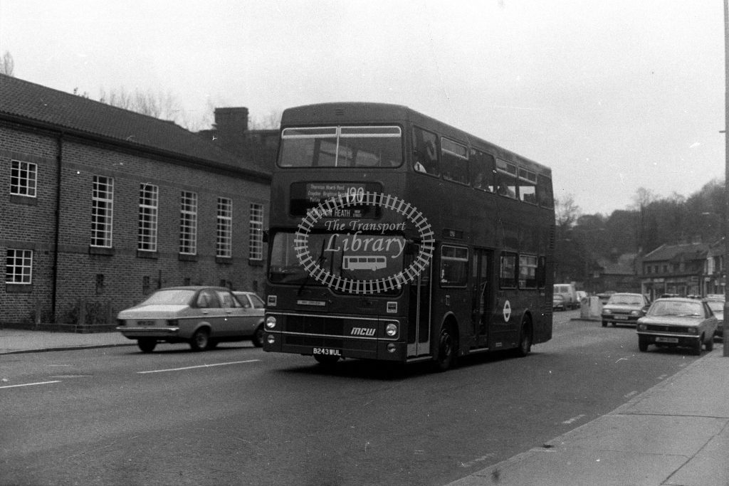 London Transport MCW Metrobus M M1243 B243WUL  on route 190  in 1980s - JGS Smith