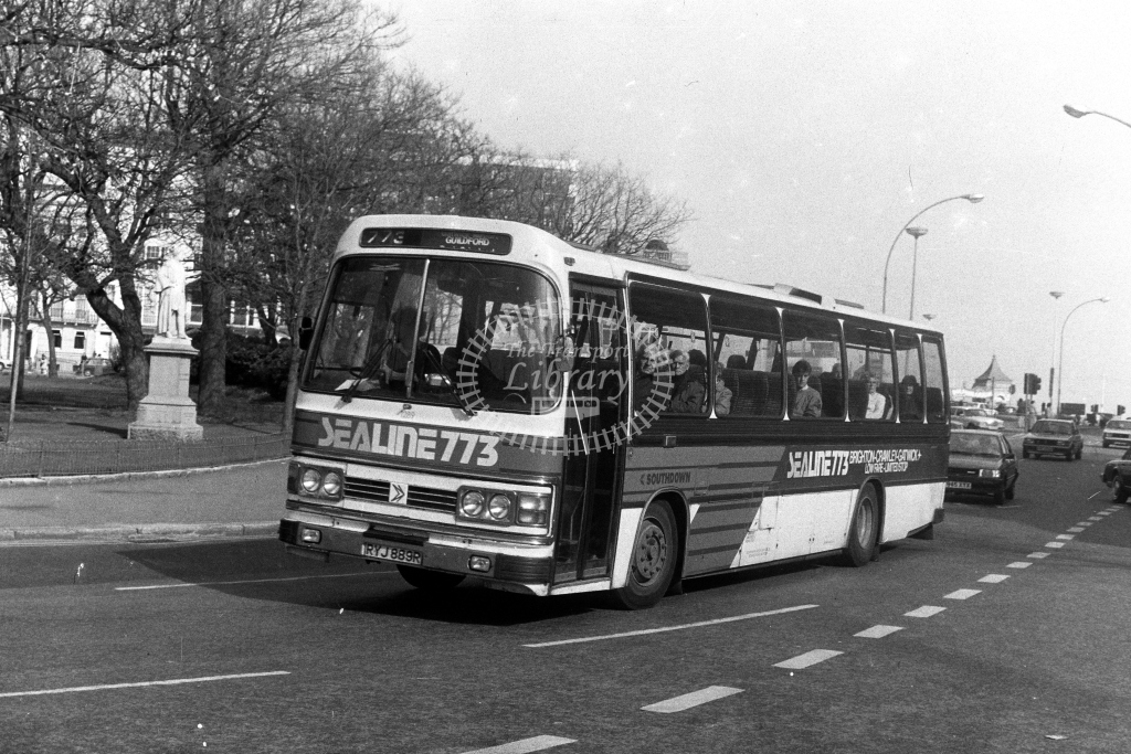 Southdown Leyland Leopard RYJ889R  on route 773  at Brighton  in 1980s - JGS Smith