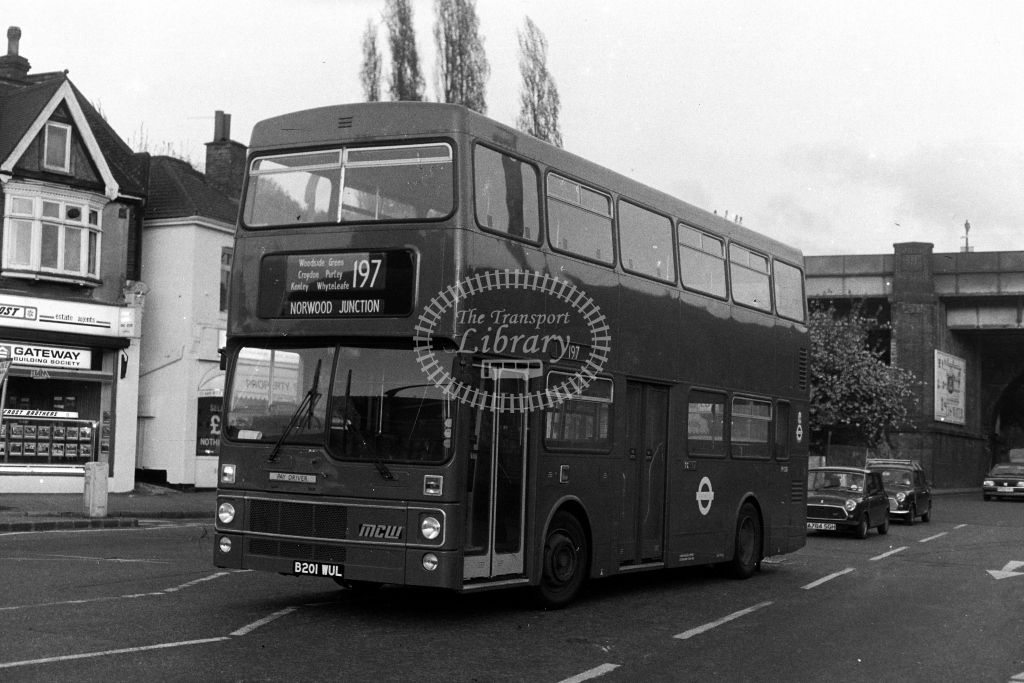 London Transport MCW Metrobus M M1201 B201WUL  on route 197  in 1980s - JGS Smith