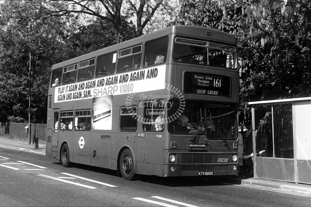London Transport MCW Metrobus M800 KYV800X  on route 161  in 1980s - JGS Smith